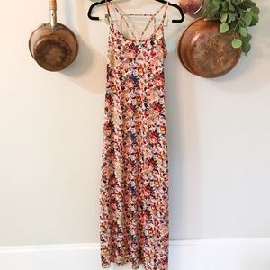 Pink floral sleeveless maxi dress with slit